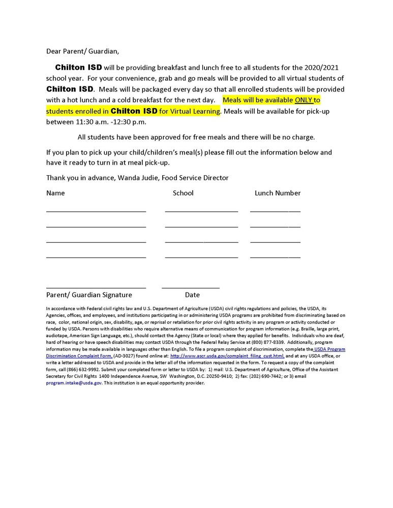 Chilton ISD Annual Child Nutrition Notification