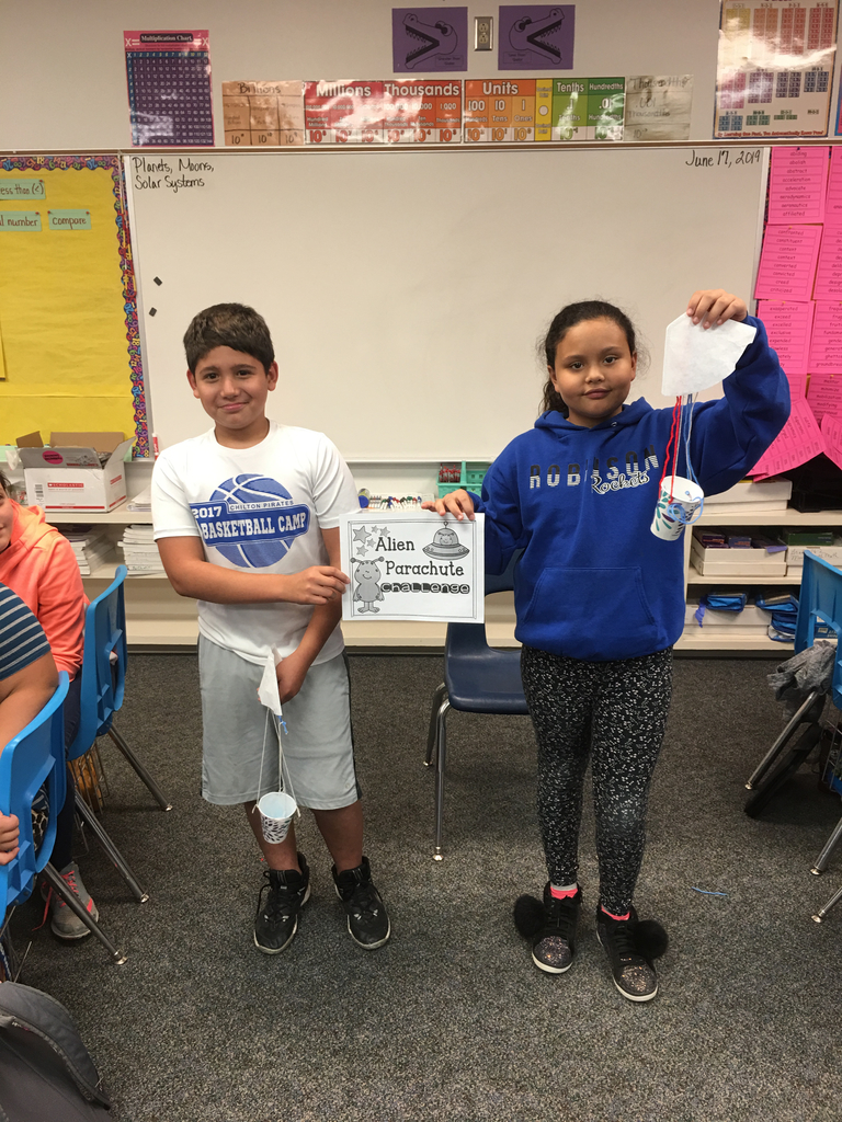 Day 9: Winners of the Grade 4 and 5 Alien Parachute Contest.