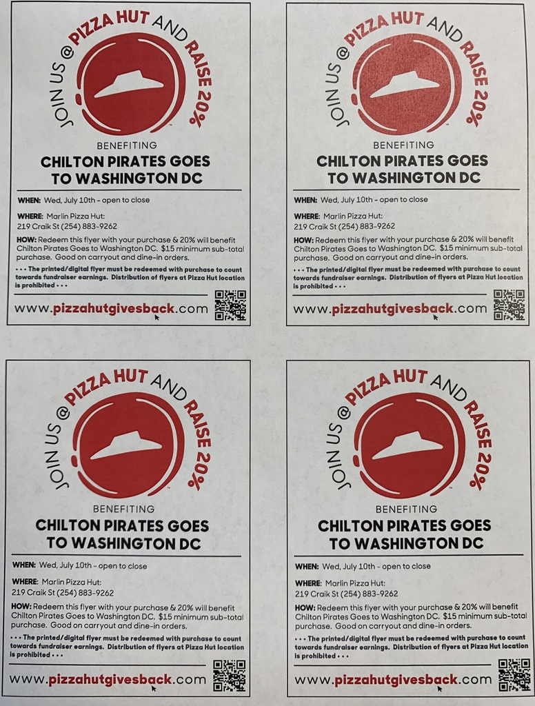 Chilton ISD Pizza Hut Fundraiser