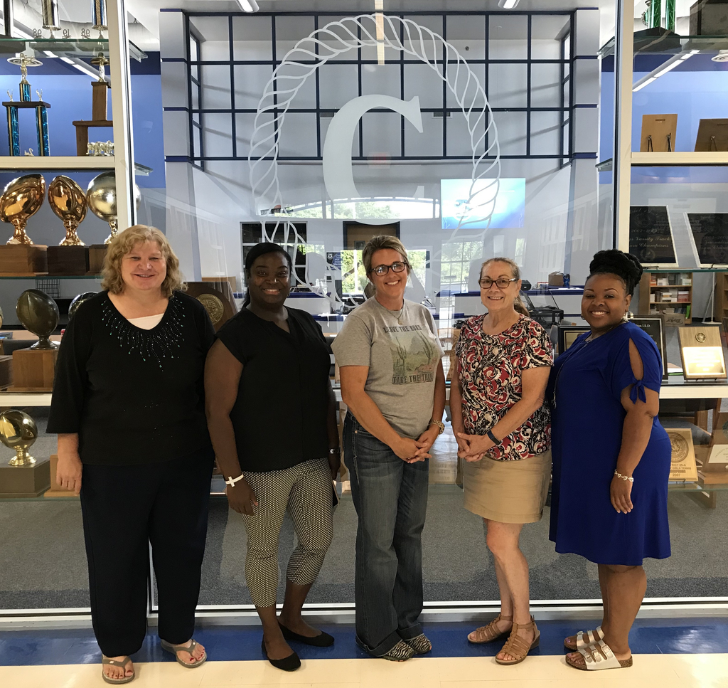 Elementary Staff (left to right):  Maureena Rainey, Sharhonda Skulark, LeighAnne Plemmons, Deanna Parker, and Candice Ross