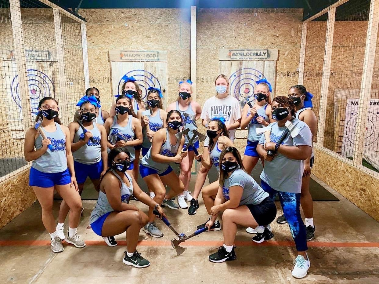 Cheerleaders at Waco Axe Throwing Company